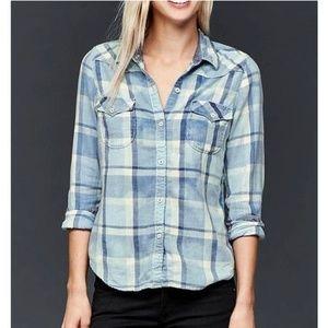 Gap Slim Western Blue Plaid Flannel Button Up Top
